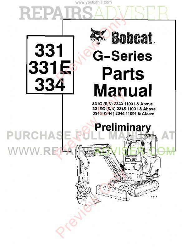 Bobcat 331, 331E, 334 (G-Series) Excavator Parts Manual PDF